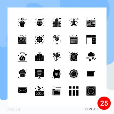 Stock Vector Icon Pack of 25 Line Signs and Symbols for website, video, office, player, gingerbread men Editable Vector Design Elements icon