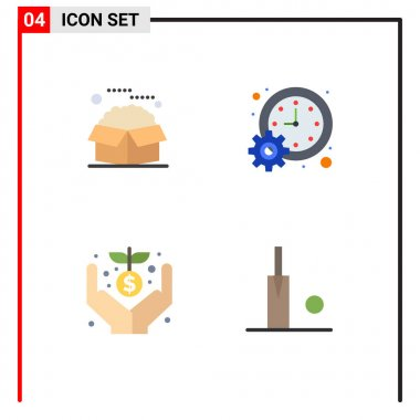 User Interface Pack of 4 Basic Flat Icons of box, time, packages, management, donation Editable Vector Design Elements icon