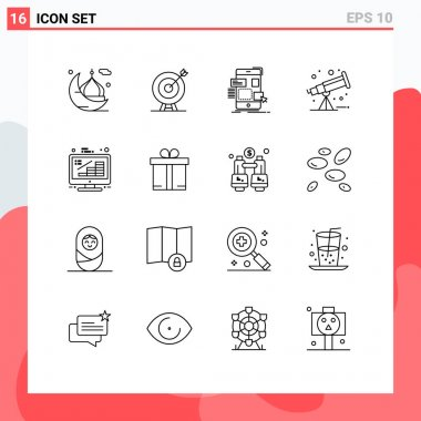 Stock Vector Icon Pack of 16 Line Signs and Symbols for telescope, astronomy, arrow, ux, design Editable Vector Design Elements icon