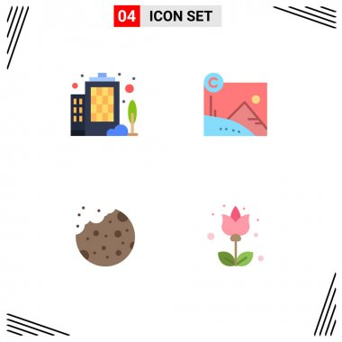Flat Icon Pack of 4 Universal Symbols of building, dessert, artwork, copyrighted, flower Editable Vector Design Elements icon