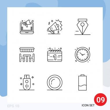 Stock Vector Icon Pack of 9 Line Signs and Symbols for new year, calendar, anchor, spring, dinner Editable Vector Design Elements icon