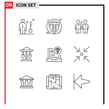 Stock Vector Icon Pack of 9 Line Signs and Symbols for drum, handshake, user, deal, business Editable Vector Design Elements icon