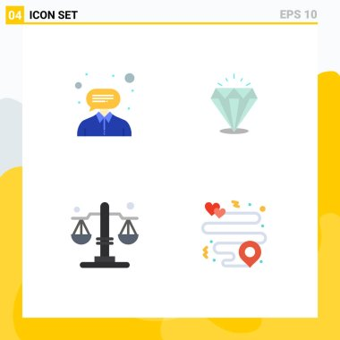 Pack of 4 creative Flat Icons of consultant, justice, support, expensive, heart Editable Vector Design Elements icon