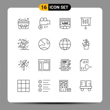 16 Universal Outlines Set for Web and Mobile Applications shopping, sale, beat, cyber monday, money Editable Vector Design Elements