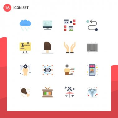 Set of 16 Modern UI Icons Symbols Signs for copy right, road, monitor, destination, page Editable Pack of Creative Vector Design Elements icon