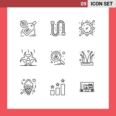 Stock Vector Icon Pack of 9 Line Signs and Symbols for applicant, danger, pipe, contamination, watch Editable Vector Design Elements icon