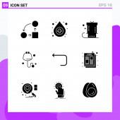 Set von 9 modernen UI-Symbolen Symbole Zeichen für Schleife, Stethoskop, Feier, Medizin, Gegenwart Editierbare Vektor-Design-Elemente