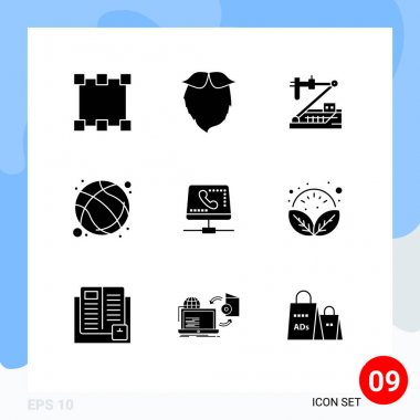Stock Vector Icon Pack of 9 Line Signs and Symbols for exercise, game, biology, basketball, research Editable Vector Design Elements icon