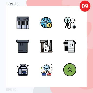 Stock Vector Icon Pack of 9 Line Signs and Symbols for construction, tools, money, putty, process Editable Vector Design Elements icon