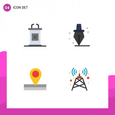 Editable Vector Line Pack of 4 Simple Flat Icons of desk, place, professor, school, signal Editable Vector Design Elements icon