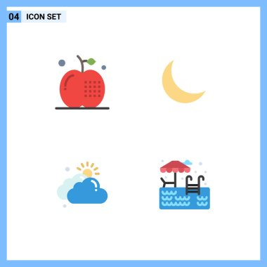 Editable Vector Line Pack of 4 Simple Flat Icons of apple, cloud, food, night, day Editable Vector Design Elements icon