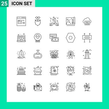 Stock Vector Icon Pack of 25 Line Signs and Symbols for cloud, file, beared, achievement, heart Editable Vector Design Elements icon