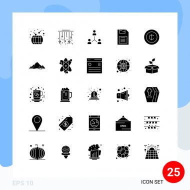 Stock Vector Icon Pack of 25 Line Signs and Symbols for memory chip, team, decoration, people, group Editable Vector Design Elements icon