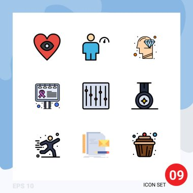 Stock Vector Icon Pack of 9 Line Signs and Symbols for devices, sign, diamond, awareness, advertisement Editable Vector Design Elements icon