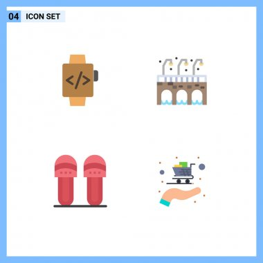 4 User Interface Flat Icon Pack of modern Signs and Symbols of watch, slipper, city, clothes, cart Editable Vector Design Elements icon