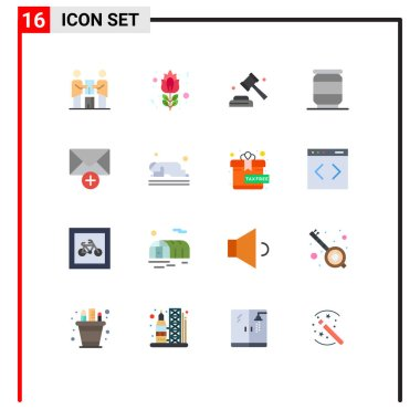 Stock Vector Icon Pack of 16 Line Signs and Symbols for message, soda, rose, can, vote Editable Pack of Creative Vector Design Elements icon