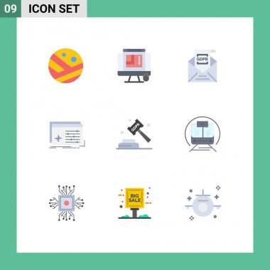 Stock Vector Icon Pack of 9 Line Signs and Symbols for software, processing, commission, object, mail Editable Vector Design Elements icon