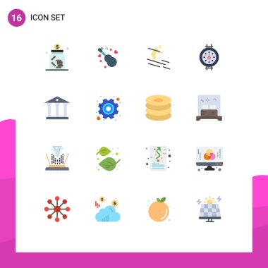 Universal Icon Symbols Group of 16 Modern Flat Colors of deposit, pipe, love, meter, sportsman Editable Pack of Creative Vector Design Elements icon