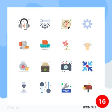 16 Creative Icons Modern Signs and Symbols of company, brand, mark, branding, setting Editable Pack of Creative Vector Design Elements icon