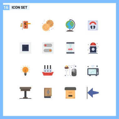 Universal Icon Symbols Group of 16 Modern Flat Colors of layout, sports, cutter, scale, map Editable Pack of Creative Vector Design Elements icon