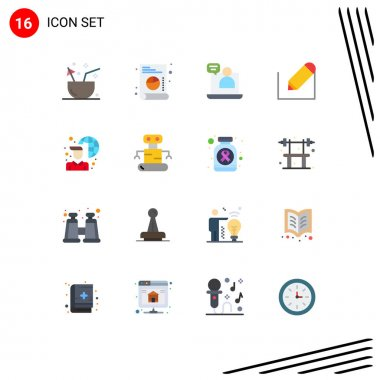 Universal Icon Symbols Group of 16 Modern Flat Colors of internet connectivity, school, business, text, pencil Editable Pack of Creative Vector Design Elements icon