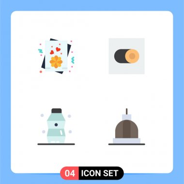 Set of 4 Commercial Flat Icons pack for card, water, settings, bottle, bank Editable Vector Design Elements icon