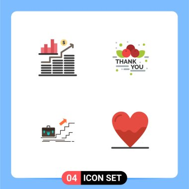 Pack of 4 Modern Flat Icons Signs and Symbols for Web Print Media such as business, business, graph, message, leader Editable Vector Design Elements icon