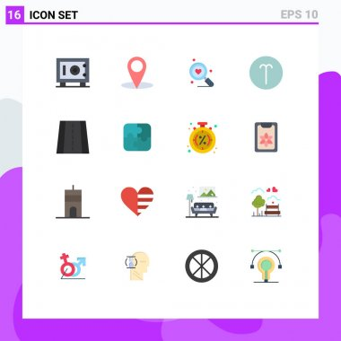 Set of 16 Modern UI Icons Symbols Signs for puzzle, road, heart, perspective, symbolism Editable Pack of Creative Vector Design Elements icon