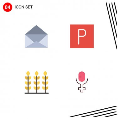 User Interface Pack of 4 Basic Flat Icons of message, microphone, park, wheat, 5 Editable Vector Design Elements icon