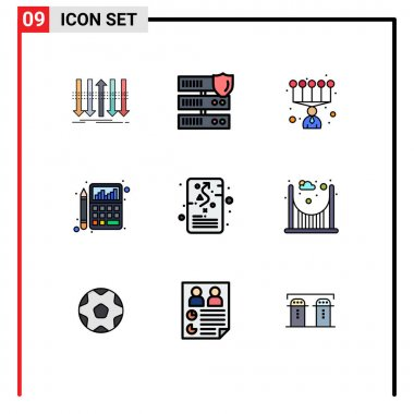 Set of 9 Modern UI Icons Symbols Signs for goal, chart, security, calculator, accounting Editable Vector Design Elements