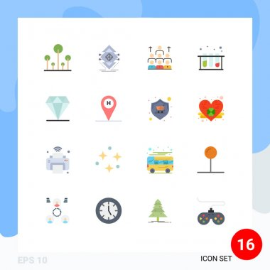 Set of 16 Modern UI Icons Symbols Signs for medical, resources, structure, organization, leadership Editable Pack of Creative Vector Design Elements icon