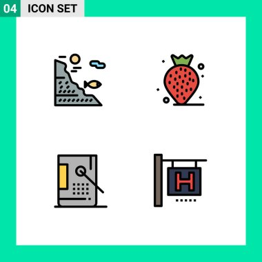 Stock Vector Icon Pack of 4 Line Signs and Symbols for under, coding, rock, strawberry, development Editable Vector Design Elements icon