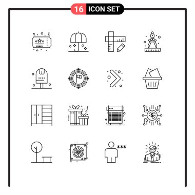 Stock Vector Icon Pack of 16 Line Signs and Symbols for food, and, sunshade, paint, compass Editable Vector Design Elements icon