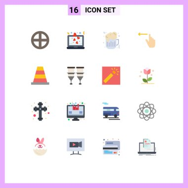 Set of 16 Modern UI Icons Symbols Signs for construction, left, romance, hand, finger Editable Pack of Creative Vector Design Elements icon