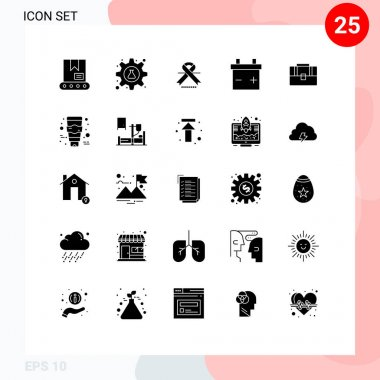 Stock Vector Icon Pack of 25 Line Signs and Symbols for cream, case, cancer, suitcase, battery Editable Vector Design Elements icon