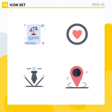 Set of 4 Commercial Flat Icons pack for balance, designing, laws, board, pen tool Editable Vector Design Elements icon
