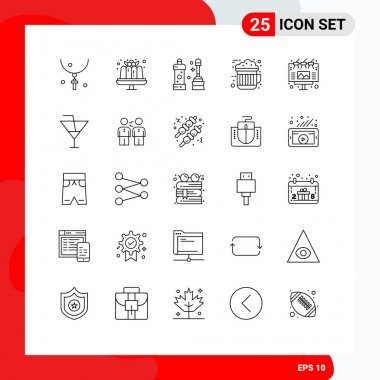 Stock Vector Icon Pack of 25 Line Signs and Symbols for ad, drink, sweets, cocoa, tool Editable Vector Design Elements icon
