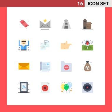 Set of 16 Modern UI Icons Symbols Signs for prisoner, arrested, landmark, monastery, church Editable Pack of Creative Vector Design Elements icon
