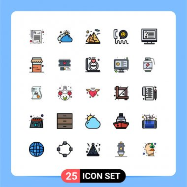 Stock Vector Icon Pack of 25 Line Signs and Symbols for computer, help, hiking, contact, call Editable Vector Design Elements icon