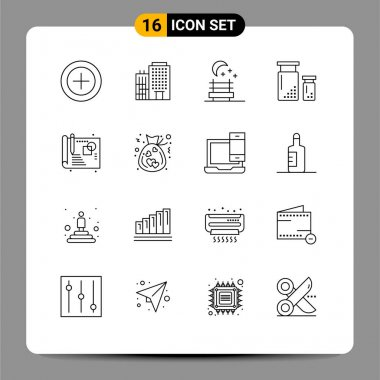 Stock Vector Icon Pack of 16 Line Signs and Symbols for bag, process, night seat, creative, development Editable Vector Design Elements icon