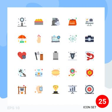 Stock Vector Icon Pack of 25 Line Signs and Symbols for tax, heavy, plant, duties, pollution Editable Vector Design Elements icon