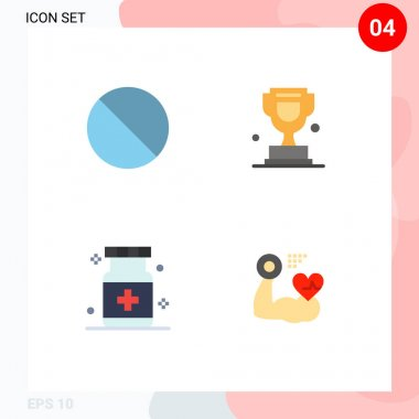 Set of 4 Commercial Flat Icons pack for cancel, health, prohibited, trophy, medical Editable Vector Design Elements icon