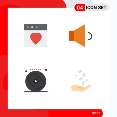 4 User Interface Flat Icon Pack of modern Signs and Symbols of app, party, sound, birthday, hand Editable Vector Design Elements icon