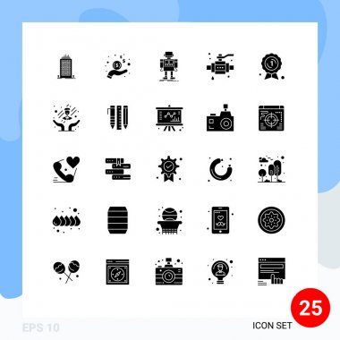 Stock Vector Icon Pack of 25 Line Signs and Symbols for award, pipe, autonomous, construction, technology Editable Vector Design Elements icon