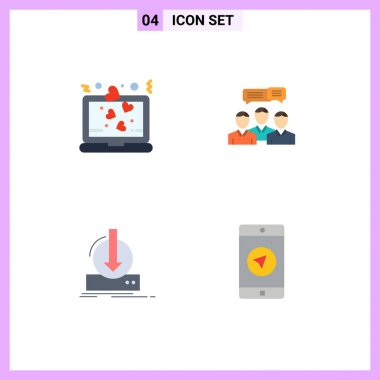 4 User Interface Flat Icon Pack of modern Signs and Symbols of heart, online, romance, consulting, content Editable Vector Design Elements icon