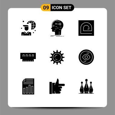 Stock Vector Icon Pack of 9 Line Signs and Symbols for hardware, devices, mind, computers, password Editable Vector Design Elements icon