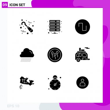 Modern Set of 9 Solid Glyphs Pictograph of chemistry, biochemistry, vpn, canada, cloud Editable Vector Design Elements