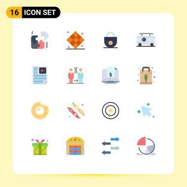 Stock Vector Icon Pack of 16 Line Signs and Symbols for page, van, business, vacation, combo Editable Pack of Creative Vector Design Elements icon