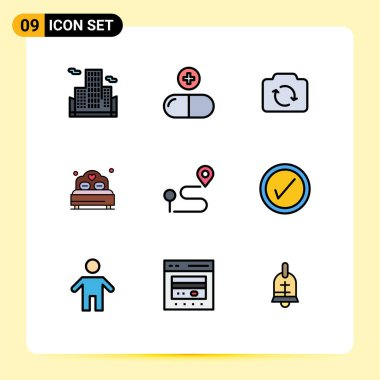 Stock Vector Icon Pack of 9 Line Signs and Symbols for navigation, location, refresh, wedding, love Editable Vector Design Elements icon
