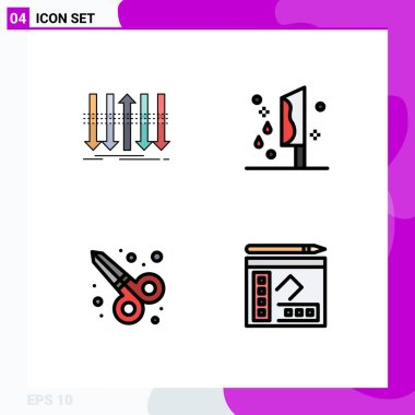 Stock Vector Icon Pack of 4 Line Signs and Symbols for arrow, murder, forward, halloween, scissor tool Editable Vector Design Elements icon